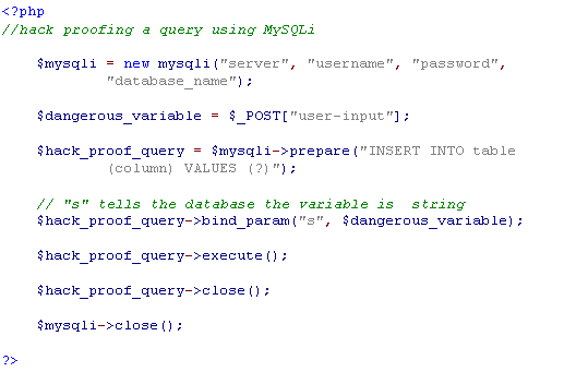 Parameterized SQL Query Using MySQLi