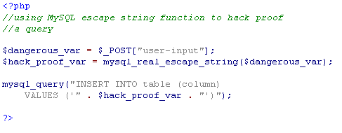 MySQL Escape String Function